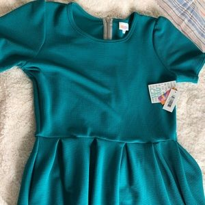 Midi teal dress with pockets